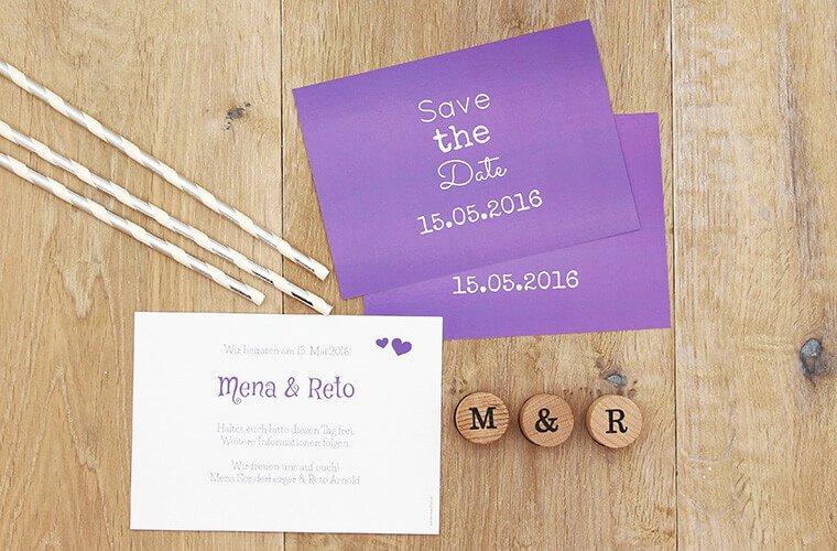 Ultra Violet Hochzeit Save-the-Date Karte Mena-Reto