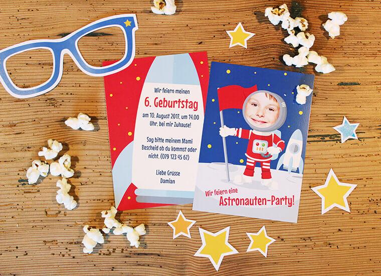 Astronauten-Party Einladungskarte von kartenmacher.ch