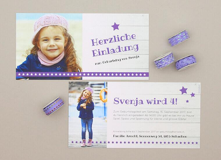 Snack-Ideen: Karte Svenja von kartenmacher.ch für den Kindergeburtstag