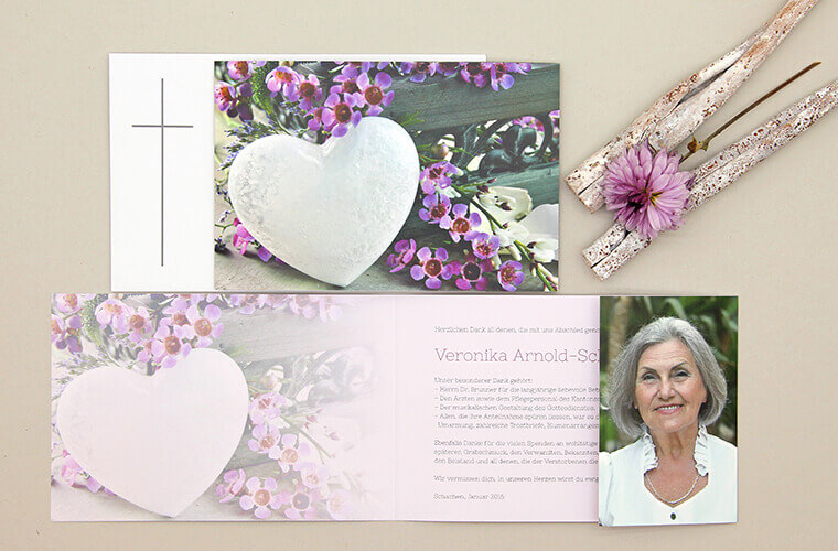 Trauerdrucksachen erstellen Danksagungskarte Glasherz