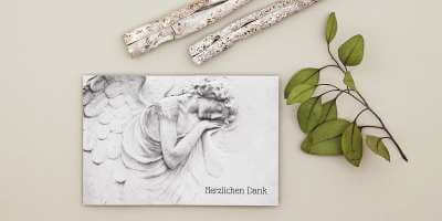 Trauerdrucksachen erstellen Danksagungskarte Steinflügel