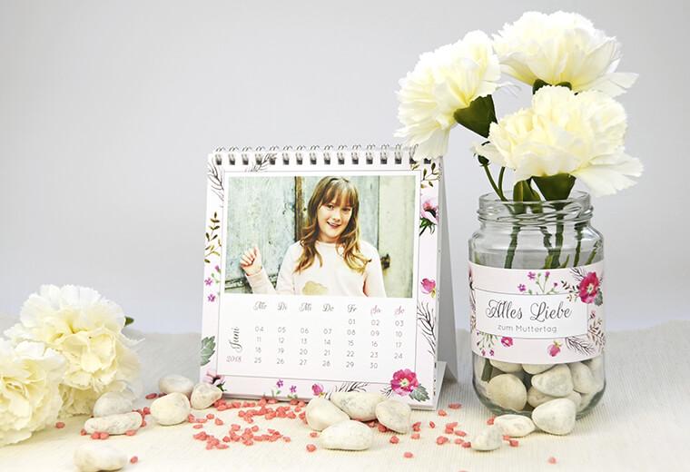 Teelichter als Muttertags-Geschenk Kalender und Teelichthalter