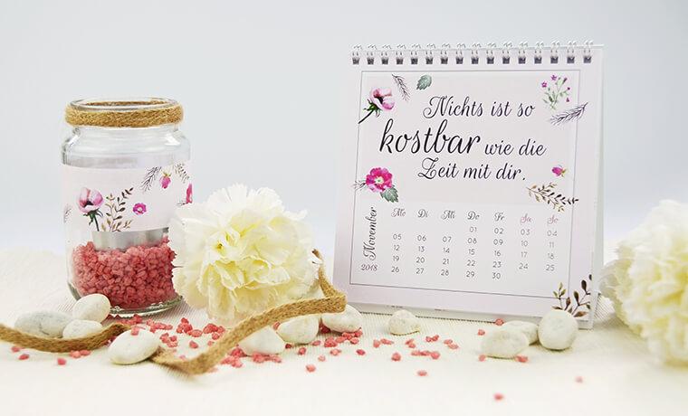 Teelichter als Muttertags-Geschenk Teelichthalter und Tischkalender