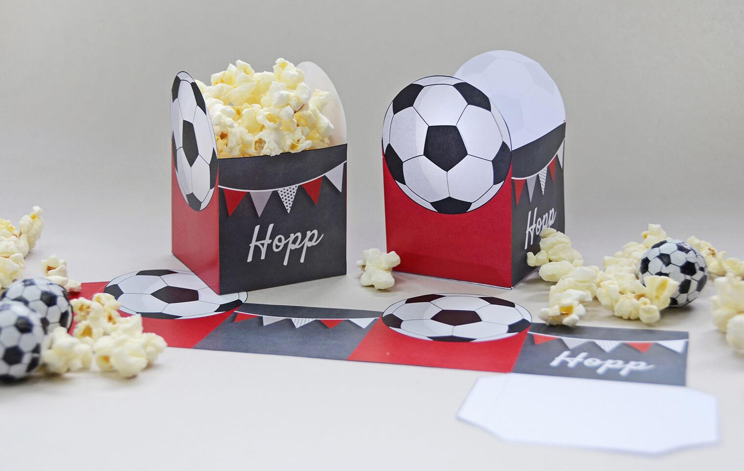 Bastelbogen Fussball-Party, Popcornbox