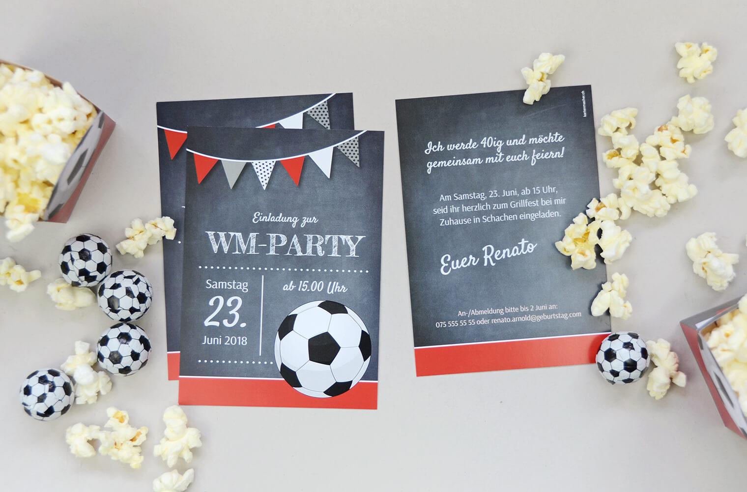 Bastelbogen Fussball-Party, Einladung kartenmacher