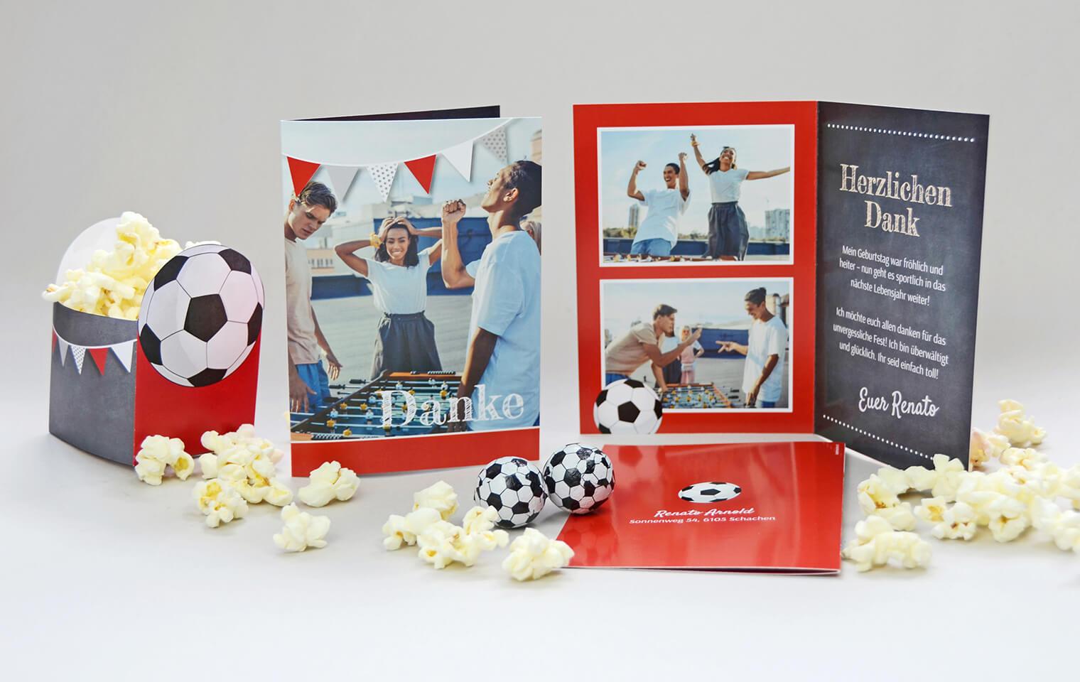 Bastelbogen Fussball-Party, Dankeskarte kartenmacher