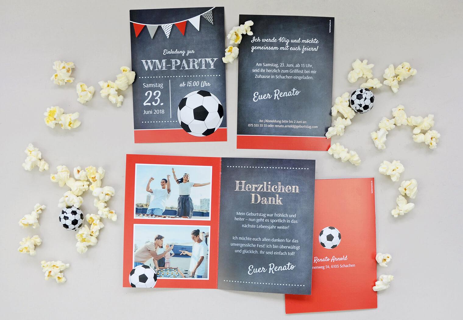 Bastelbogen Fussball-Party, Einladung und Dankeskarte