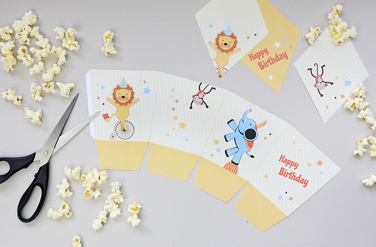 Kindergeburtstag mit Zirkus-Motto, Popcornbox selbst basteln