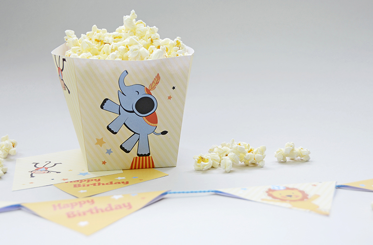 Kindergeburtstag mit Zirkus-Motto, Popcornbox