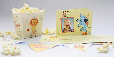 Kindergeburtstag mit Zirkus-Motto, Einladungskarte Nicolas