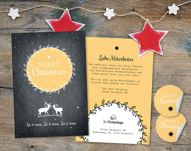 Weihnachtskarte Firmen «Blätterkranz» kartenmacher