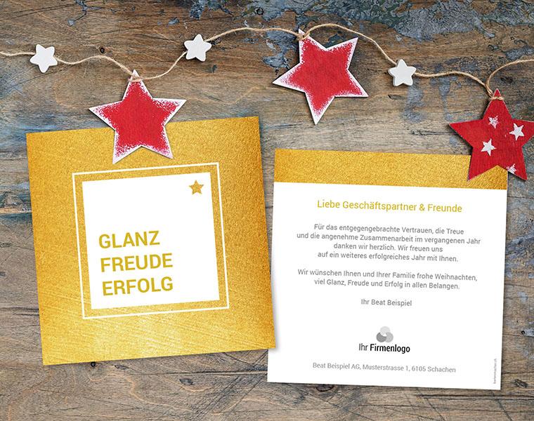 Weihnachtskarte Firmen «Goldquadrat» kartenmacher