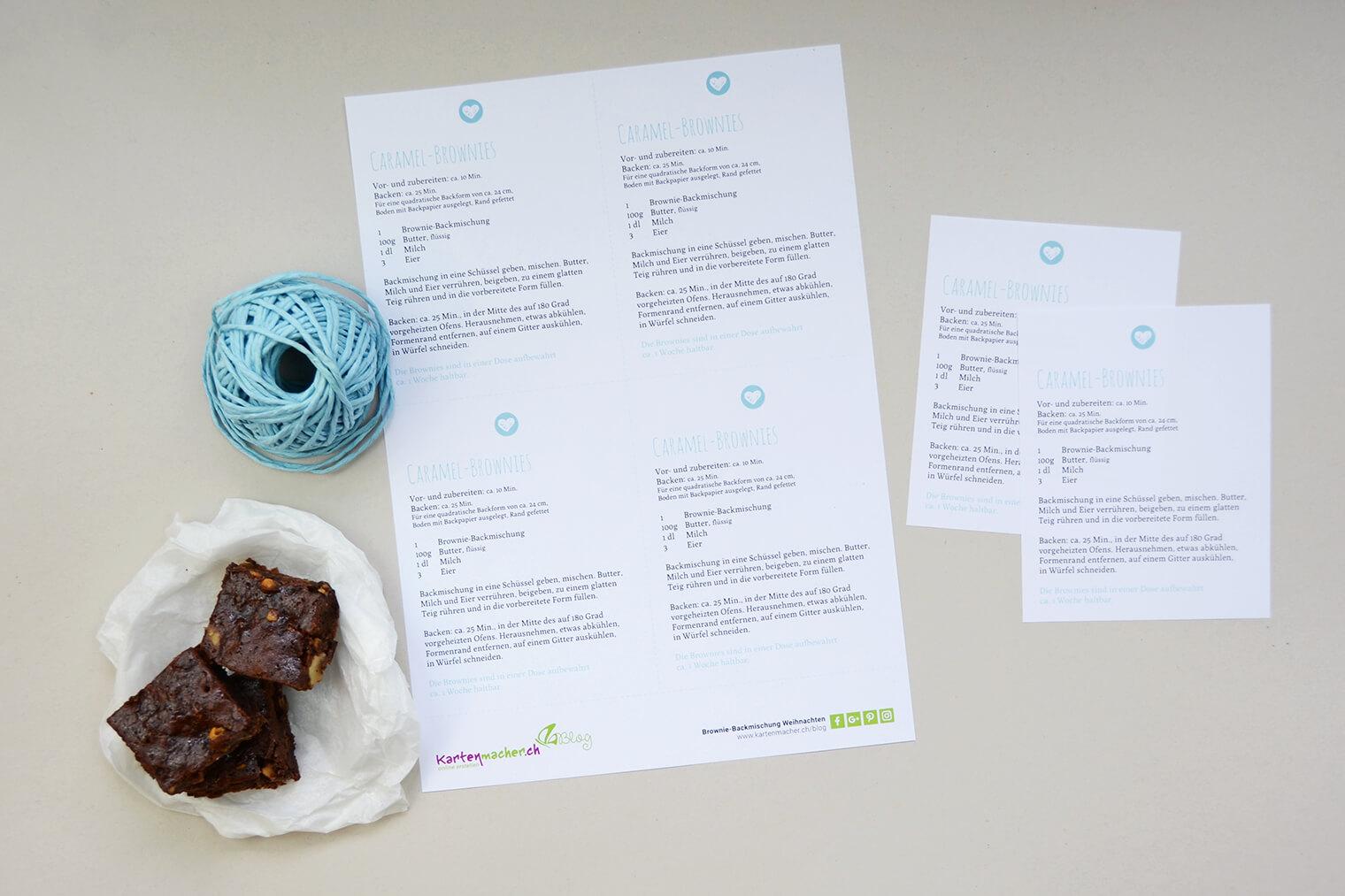 Brownies aus Brownie-Backmischung als Weihnachtsgeschenk