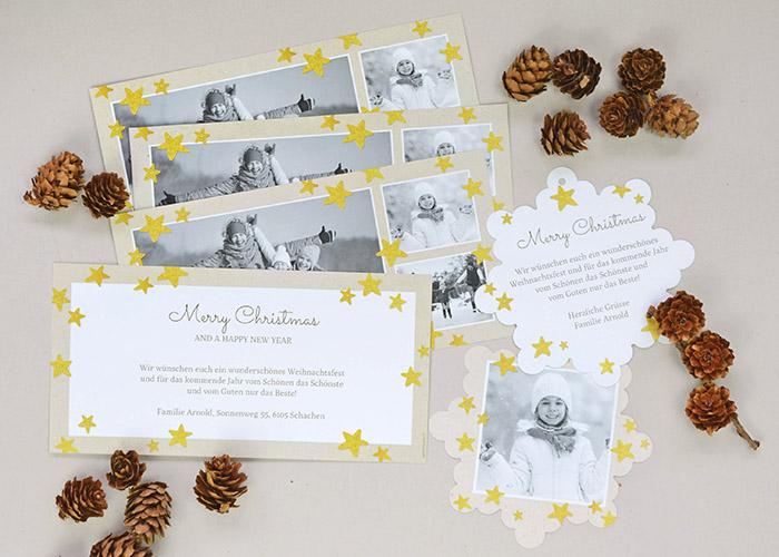 Weihnachtskarte Goldsterne von kartenmacher.ch
