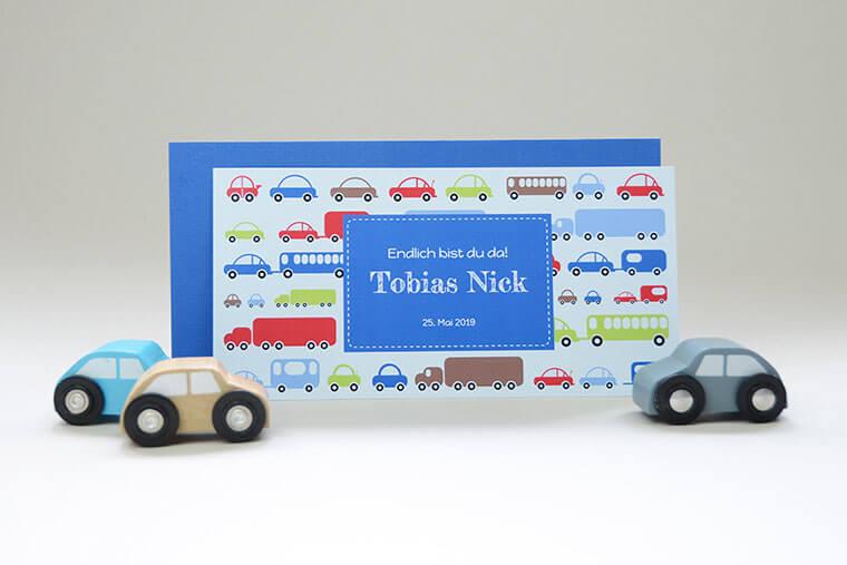 Geburtskarte Tobias mit blauem Couvert