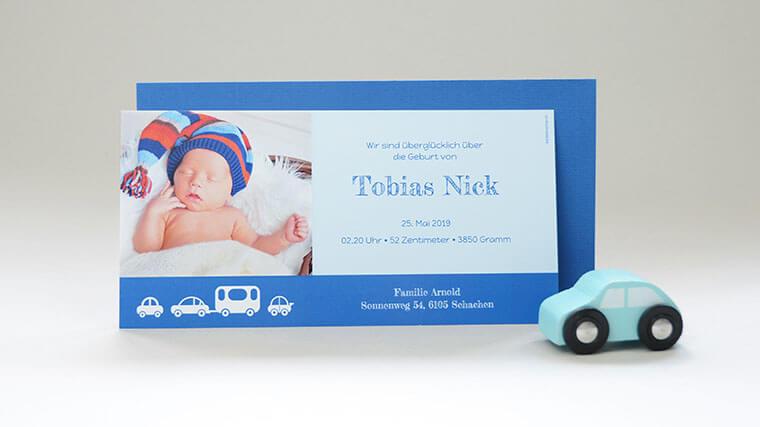 Geburtskarte Tobias mit Babyfoto