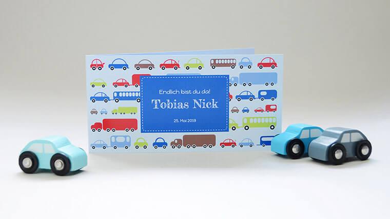 Geburtskarte Tobias, Falzkarte 4-seitig