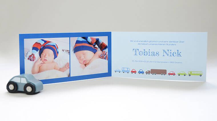 Geburtskarte Tobias, Falzkarte mit Babybilder