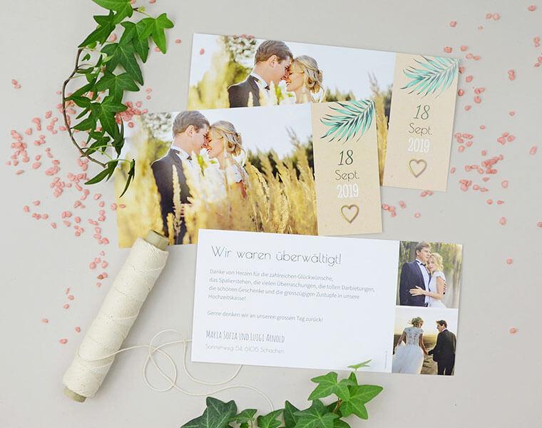 Maria-Luigi Dankeskarte zur Hochzeit