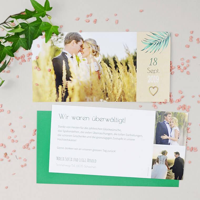 Maria-Luigi Dankeskarte zur Hochzeit mit Couvert