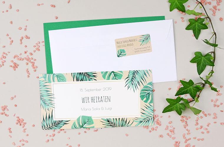 Maria-Luigi Einladungskarte und Couvert mit Absenderaufkleber