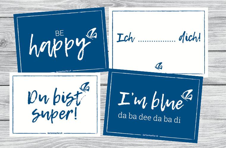 Karten zum Ausdrucken von kartenmacher.ch – Classic Blue die Farbe des Jahres 2020