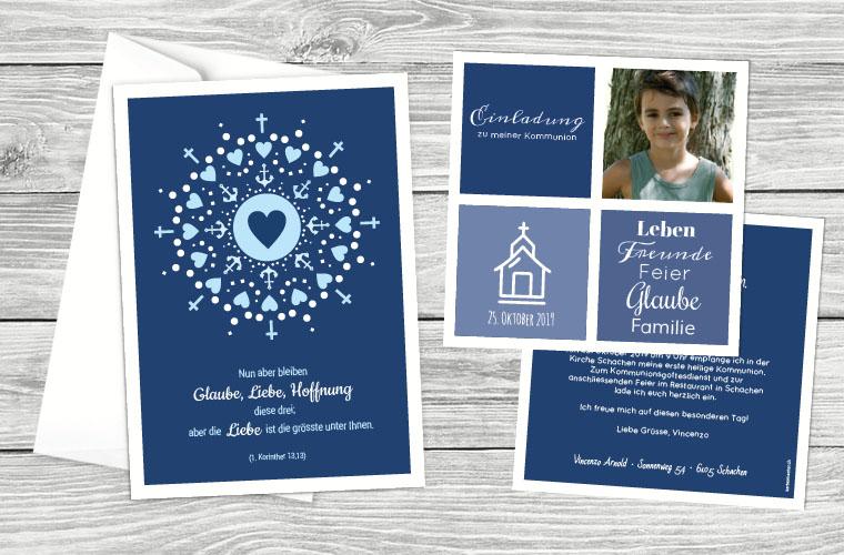 Kommunionskarten in der Trendfarbe Classic Blue mit Herz, Anker und Kreuz Elementen sowie schöner Typografie