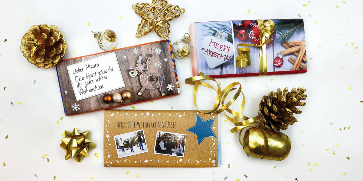 Schokoladen Banderolen von kartenmacher zum selber Ausdrucken und basteln. Last Minute Geschenkidee für Weihnachten.