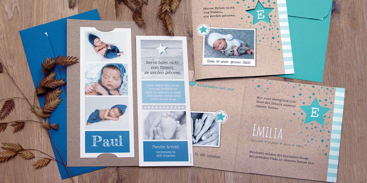 Unsere Geburtskarten mit den beliebtesten Schweizer Kindernamen 202